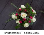 wedding bouquet with roses and... | Shutterstock . vector #655512853