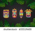 tiki hawaiian mask summer... | Shutterstock .eps vector #655519600