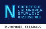 blue neon light alphabet font | Shutterstock .eps vector #655526800