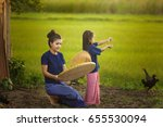 young woman and sister with... | Shutterstock . vector #655530094