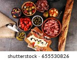 spanish tapas and sangria on... | Shutterstock . vector #655530826