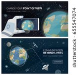 view of earth from space with... | Shutterstock .eps vector #655547074
