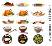 food dishes set  fish  chicken  ... | Shutterstock .eps vector #655548244