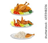 set of dishes from poultry.... | Shutterstock .eps vector #655548256