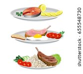 set of dishes from fish and... | Shutterstock .eps vector #655548730
