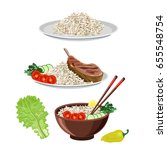 food dishes set  rice and meat... | Shutterstock .eps vector #655548754