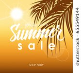 summer sale banner with hand... | Shutterstock .eps vector #655549144