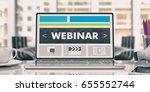webinar concept. laptop on an...   Shutterstock . vector #655552744