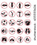 do not signs set  black white... | Shutterstock .eps vector #655555636
