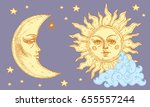sun and moon with face  cloud... | Shutterstock .eps vector #655557244