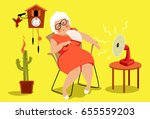 mature woman sitting in her... | Shutterstock .eps vector #655559203
