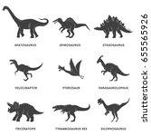 Dinosaur Black Silhouette Set...