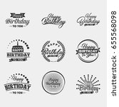 happy birthday typography set.... | Shutterstock .eps vector #655568098
