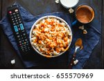 bowl of popcorn with salted... | Shutterstock . vector #655570969