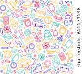 back to school seamless pattern ... | Shutterstock .eps vector #655571548