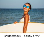 young sexy blonde woman with... | Shutterstock . vector #655575790