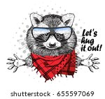 vector raccoon with red scarf... | Shutterstock .eps vector #655597069