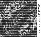 Vector Denim Exotic Palm Leaf...