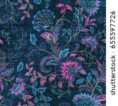 blue denim with colorful floral ... | Shutterstock .eps vector #655597726