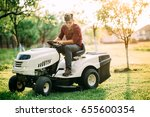 ride on lawnmower tractor with... | Shutterstock . vector #655600354