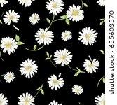 daisy garden print on black  ... | Shutterstock .eps vector #655603570