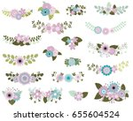 floral design elements in mint... | Shutterstock .eps vector #655604524