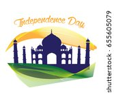 happy indian independence day... | Shutterstock .eps vector #655605079