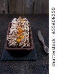 chocolate tart with meringue... | Shutterstock . vector #655608250