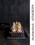 chocolate tart with meringue... | Shutterstock . vector #655608394
