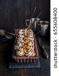 chocolate tart with meringue... | Shutterstock . vector #655608400