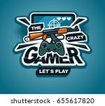 crazy gamer logo cool vector... | Shutterstock .eps vector #655617820
