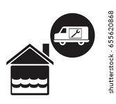 black silhouette flooded house...   Shutterstock .eps vector #655620868
