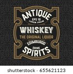 vintage label for whiskey... | Shutterstock .eps vector #655621123