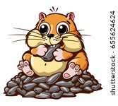 Stock vector cute hamster smiling sitting on a pile of sunflower seeds with a vector illustration 655624624