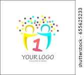 1 letter logo. abstract team... | Shutterstock .eps vector #655625233