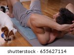 muscular man doing abs... | Shutterstock . vector #655627114