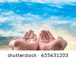 two hand with cloud and sky...   Shutterstock . vector #655631203