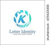 k letter logo. creative blue... | Shutterstock .eps vector #655633300