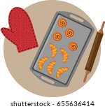 cookies on a baking sheet | Shutterstock .eps vector #655636414