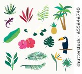 tropical plant icon set | Shutterstock .eps vector #655646740