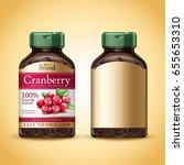 cranberry dietary supplement... | Shutterstock .eps vector #655653310