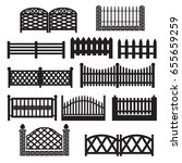 fence icons. fence silhouette... | Shutterstock .eps vector #655659259