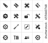 set of 16 editable tool icons.... | Shutterstock .eps vector #655660768