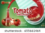 tomato ketchup ad with ketchup... | Shutterstock .eps vector #655661464