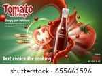 tomato ketchup ad with tomato... | Shutterstock .eps vector #655661596