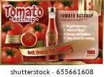 tomato ketchup ad with many... | Shutterstock .eps vector #655661608