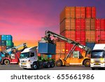 industrial logistics containers ... | Shutterstock . vector #655661986