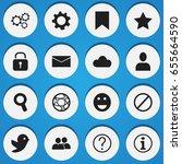 set of 16 editable internet... | Shutterstock .eps vector #655664590