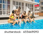 party at smimming pool. group... | Shutterstock . vector #655669093