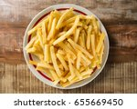 french fries on dish | Shutterstock . vector #655669450